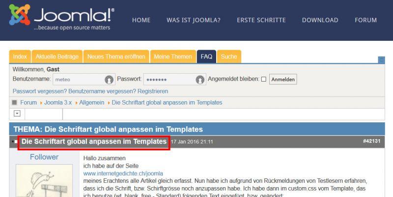 Die Schriftart global anpassen im Templates - Joomla Forum - Hilfe ...